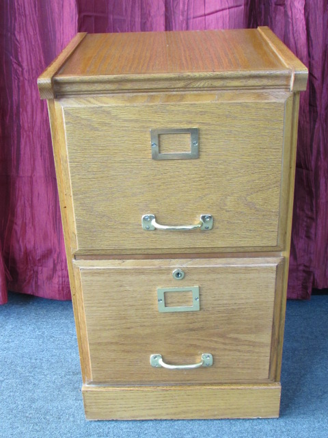 High Quality ... NICE TWO DRAWER OAK WOOD FILE CABINET WITH BRASS HANDLES U0026 PENDAFLEX  FILES