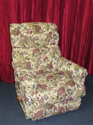 LOVELY LAZY BOY WALL HUGGER RECLINER WITH FLORAL TAPESTRY UPHOLSTERY