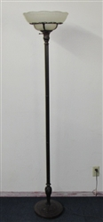 ELEGANT ANTIQUE STYLE FLOOR LAMP WITH FROSTED GLASS SHADE