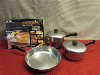 STOVETOP OR MICROWAVE!  REVERE WARE COPPER BOTTOM POTS & PAN PLUS BACON RACK