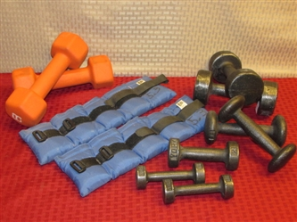 GET LEAN & MEAN!  SEVEN SETS OF DUMBBELLS & A PAIR OF LEG WEIGHTS