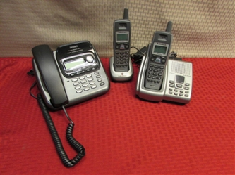 LAND LINES JUST IN CASE!  TWO CORDLESS SETS & ONE W/CORD & DIGITAL ANSWERING SYSTEM