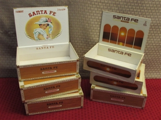 SIX VINTAGE CIGAR BOXES-GREAT FOR STORING SMALL ITEMS!