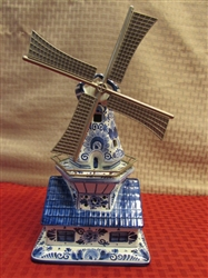 DELFT BLUE WINDMILL MUSIC BOX MADE IN HOLLAND
