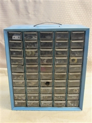 FIFTY DRAWER METAL HARDWARE ORGANIZER FULL OF SMALL HARDWARE