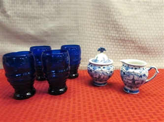 COLLECTIBLE DELFTS BLUE CREAMER & SUGAR BOWL & FOUR GORGEOUS COBALT DRINKING GLASSES