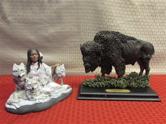 HANDPAINTED & SIGNED SUNDANCE NATIVE AMERICAN WOMAN & WOLF FIGURINE & BISON STATUE