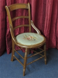 BEAUTIFUL ANTIQUE LADDER BACK CHAIR WITH NEEDLEPOINT CUSHION