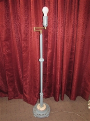 ANTIQUE ART DECO CAST IRON FLOOR LAMP WITH MARBLE BASE ACCENT & BRASS SWING ARM