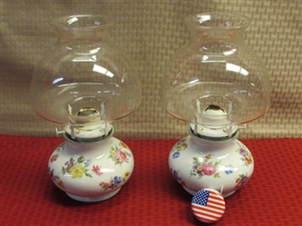 TWO LOVELY BAVARIA GERMANY PORCELAIN LAMPLIGHT FARMS HURRICANE LAMPS