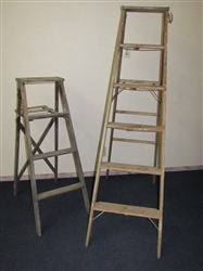 TWO RUSTIC WOODEN LADDERS TURN THEM INTO UNIQUE BOOK SHELVES