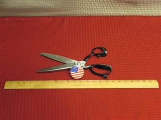"WOW! AWESOME PAIR OF 12"" HEAVY DUTY VINTAGE WISS NO. 4 UPHOLSTERY SHEARS"