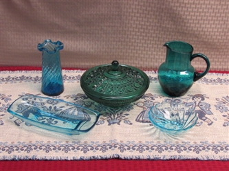 GORGEOUS GREEN CARNIVAL GLASS CANDY DISH, SWIRL GLASS VASE, AQUA PITCHER & MORE