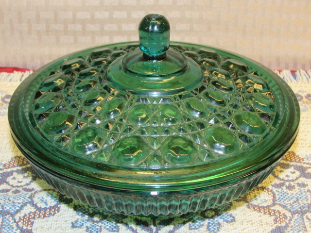 Lot Detail Gorgeous Green Carnival Glass Candy Dish Swirl Glass