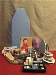 SEW MANY GOODIES!  IRONING BOARD, STEAM IRON, WISS SCISSORS, OODLES OF NEEDLES, TAILOR CLAPPER, RIBBON & MORE