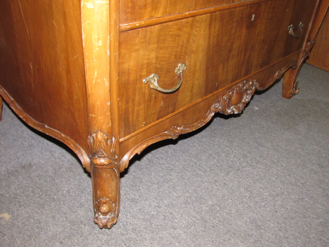Exquisite Antique Tall Boy Dresser With Cheval Mirror Beautiful Carved Details