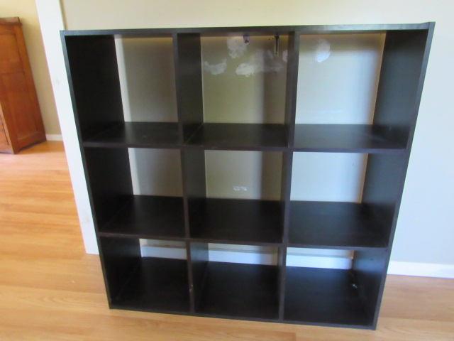 BLACK PLYWOOD CUBBY STORAGE SHELF, BLACK PLYWOOD CUBBY STORAGE SHELF