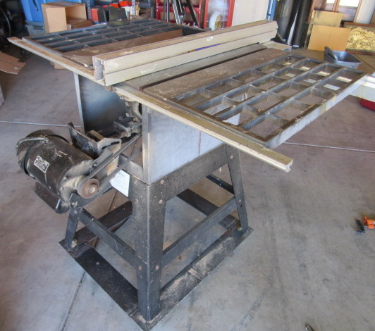 Lot Detail Ten Inch Industrial Table Saw On Metal Stand With Easy Roll Caster Wheels