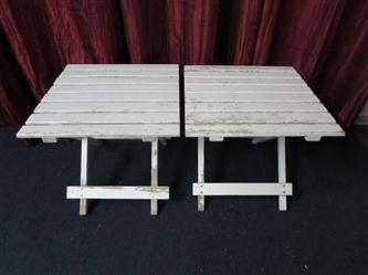 TWO WOOD FOLDING PATIO TABLES