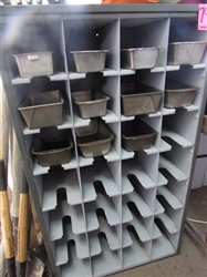 STURDY METAL SHELVING UNIT WITH LOTS OF CUBBIES AND PANS FOR SORTING HARDWARE OR CRAFT SUPPLIES