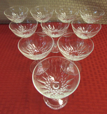 lot detail amazing set of 10 cristal d 39 arques champagne glasses. Black Bedroom Furniture Sets. Home Design Ideas
