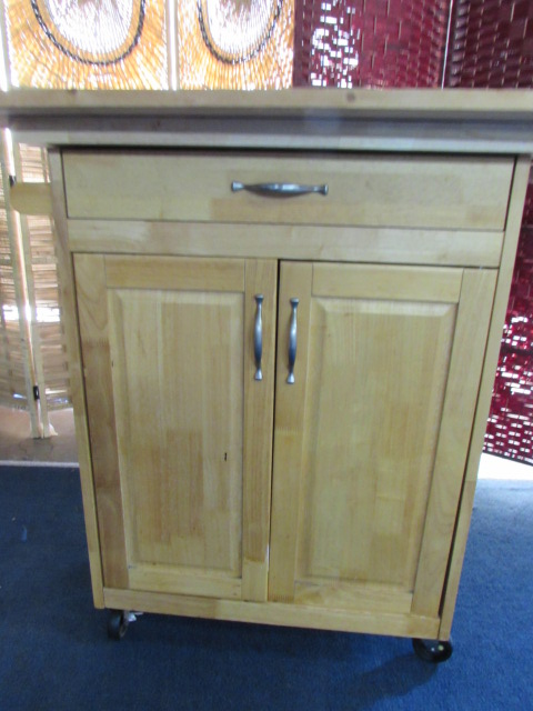 Lot Detail Wood Cabinet With Cutting Board Top