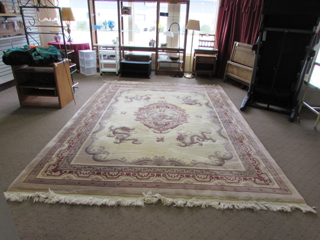 Lot Detail Vintage Chinese Wool Area Rug With Dragon Design