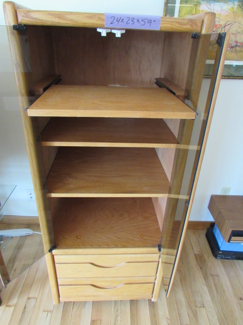 Tall Media Cabinet With Gl Doors