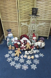 "36"" ILLUMINATED SNOWMAN & HIS SNOWMAN & GINGERBREAD MAN FRIENDS"