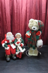 ANIMATED BEAR & SANTA & MRS CLAUS