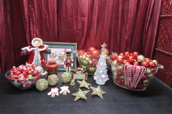 RED & GOLD ORNAMENTS, LIGHTED TABLETOP TREE & MORE