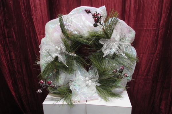 ANGEL TREE TOPPER, WREATH & ASSORTED ORNAMENTS IN BURGUNDY, GOLD, PINK, LACE & MORE