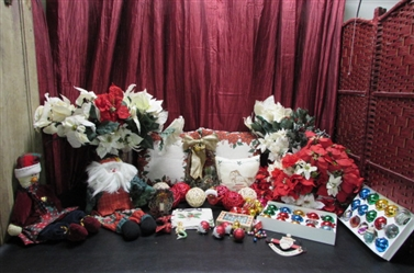 POINSETTIA PILLOWS, SILK FLOWERS, VINTAGE & NEW GLASS ORNAMENTS & MORE