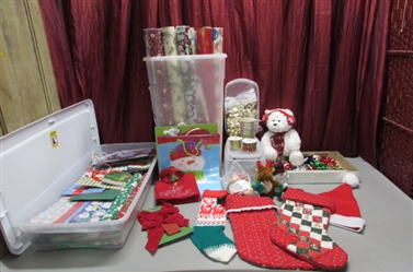 RUBBERMAID WRAP & CRAFT BOX FULL OF WRAPPING PAPER & MORE