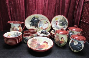 31 PIECE ROOSTER DISH SET