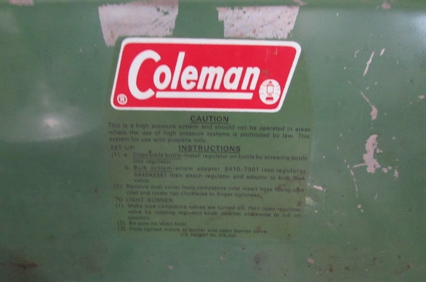 COLEMAN CAMP STOVE, DOWN SLEEPING BAG AND MORE