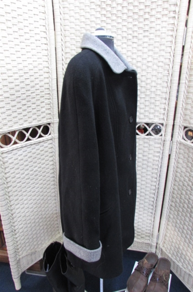 WOOL JACKET/MINK STOLE/KNEE HIGH BOOTS & 3 PAIRS OF WOMENS SHOES