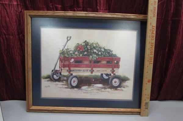 FRAMED WAGON PRINT AND RUSTIC DECOR