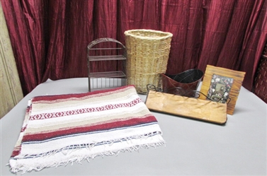 THROW BLANKET, WICKER WASTE BASKET, SMALL SHELF