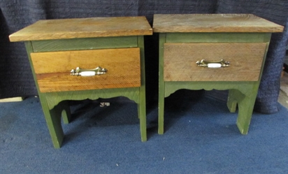 TWO RUSTIC WOOD SIDE TABLES