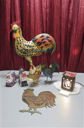 TIN ROOSTER CANDLE HOLDERS