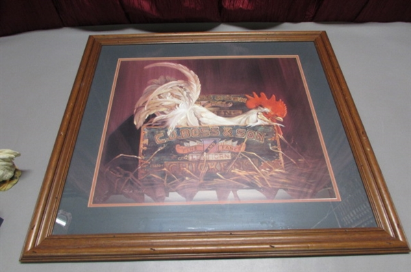 FRAMED ROOSTER PRINT AND MORE