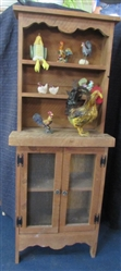 SMALL RUSTIC PIE SAFE/HUTCH & CHICKEN DECOR