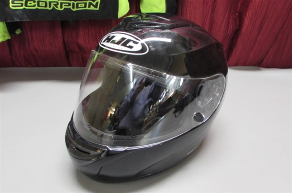 HJC MOTORCYCLE HELMET AND SCORPION EXO JACKET