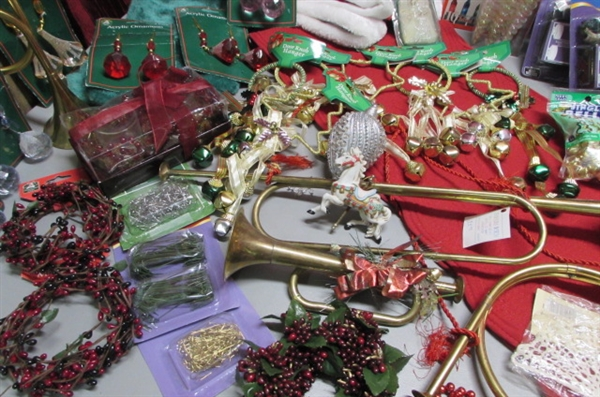 CHRISTMAS LIGHTS, BRASS HORNS, ORNAMENTS & MORE