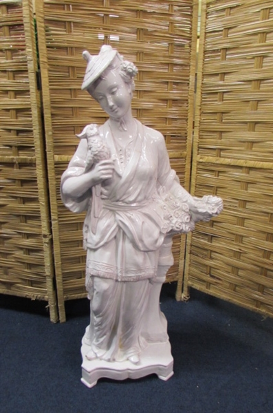 ITALIAN MOTTAHEDEH DESIGN STATUE - LADY WITH BIRD