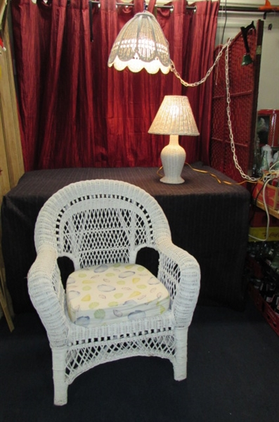 WICKER CHAIR AND LAMPS