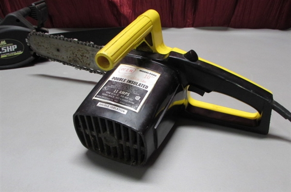 MCCULLOCH 14 ELECTRIC CHAINSAW & WEN 10 ELECTRIC CHAINSAW FOR PARTS OR REPAIR