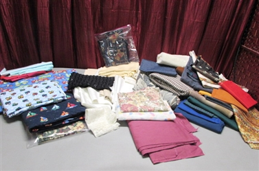 LARGE LOT OF FABRIC FOR YOUR SEWING PROJECTS!