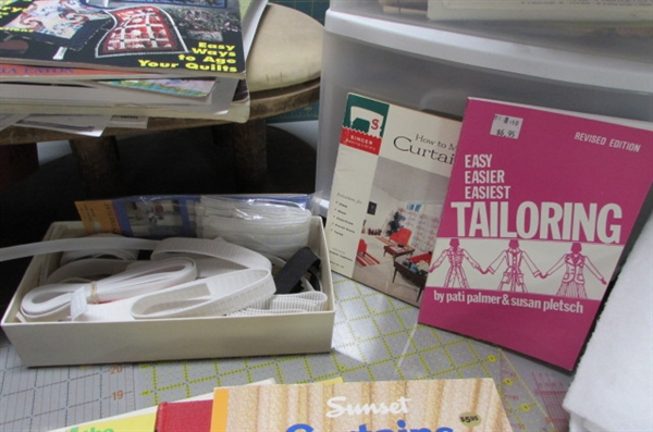 SEWING SUPPLIES IN 5 DRAWER BIN, CUTTING MATS, QUILTERS RULERS & MUCH MORE